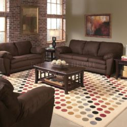 Stock photo of a brown feature wall in living room
