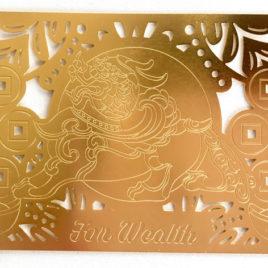 Wealth Pi Yao Gold Talisman Card