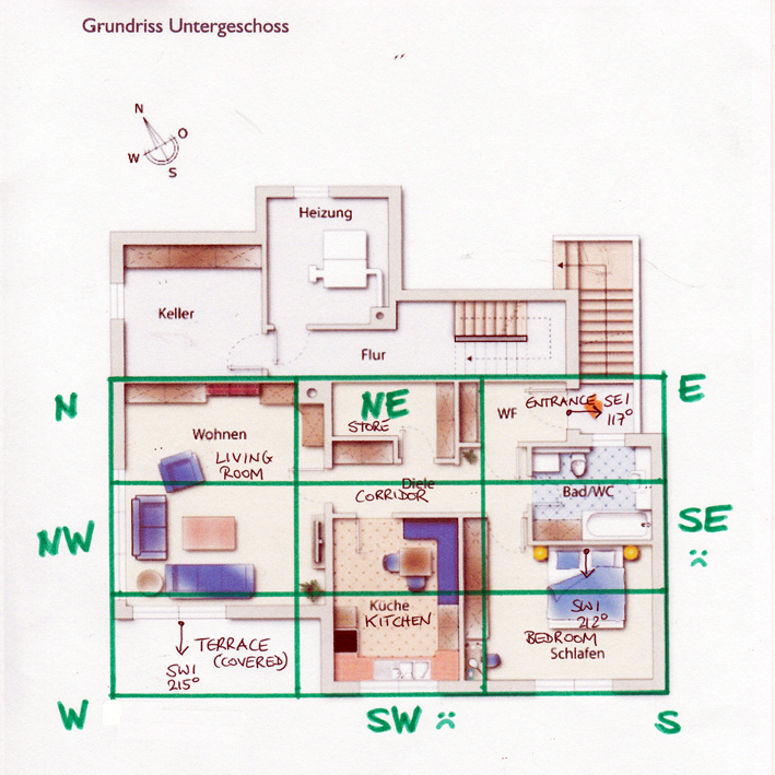 Floor Plan with Compass Sectors