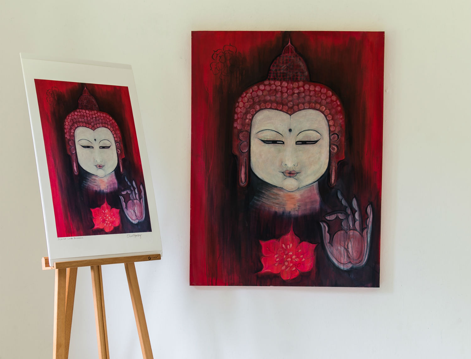 Scarlet Lotus Buddha by Clare Haxby