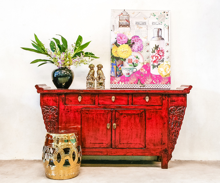 Red Cabinet with Louise Hill flower print 6x5cm