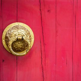 Red door w gold dragon handle