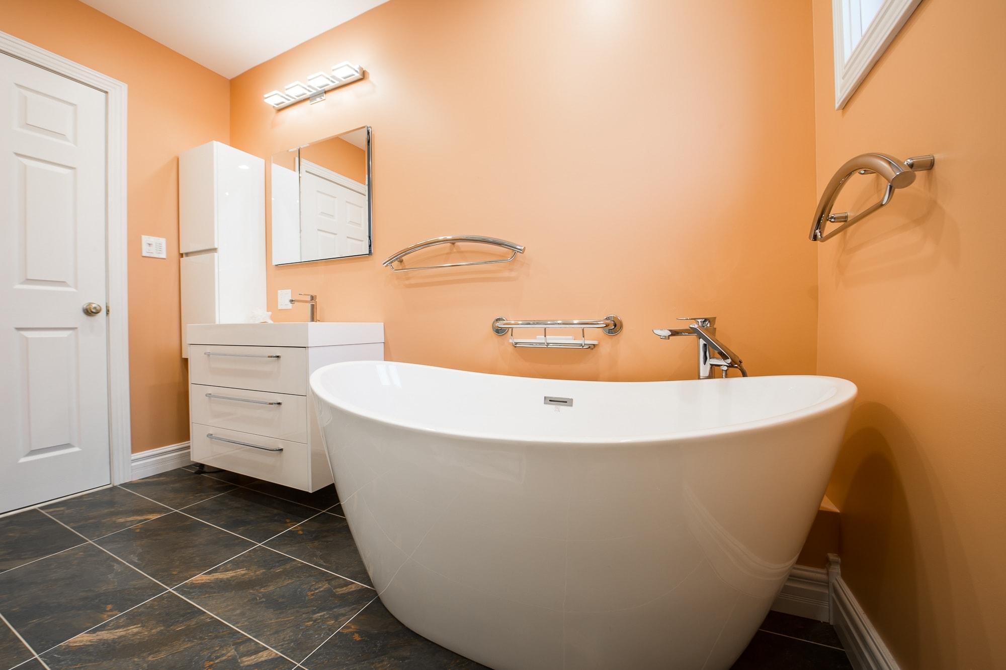 Bathroom with orange wall
