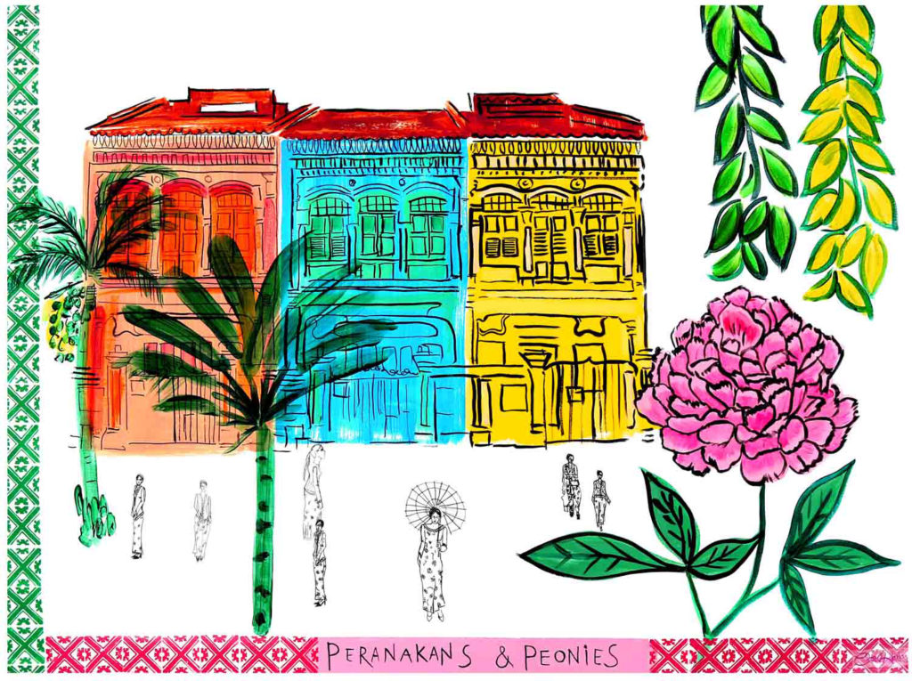 "Peranakans & Peonies at the Joo Chiat Shophouse"" by British artist Clare Haxby"